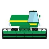 Ξεπερασμένη πράσινη θεριστική μηχανή διανυσματική απεικόνιση