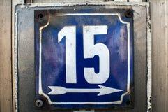 Ξεπερασμένο σμαλτωμένο πιάτο αριθμός 15 Στοκ εικόνα με δικαίωμα ελεύθερης χρήσης