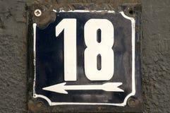 Ξεπερασμένο σμαλτωμένο πιάτο αριθμός 18 Στοκ Εικόνα