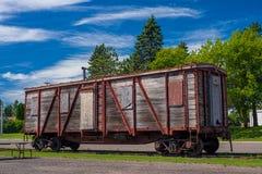 Ξεπερασμένο boxcar, onamia στοκ φωτογραφία
