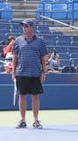 Οκτώ φορές πρωτοπόρος Ivan Lendl του Grand Slam που προγυμνάζει τον πρωτοπόρο Andy Murray του Grand Slam για τις ΗΠΑ ανοικτές Στοκ εικόνες με δικαίωμα ελεύθερης χρήσης