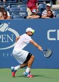 Πρακτικές του Andy Roddick πρωτοπόρων του Grand Slam για τις ΗΠΑ ανοικτές στο εθνικό κέντρο αντισφαίρισης βασιλιάδων της Billie Je Στοκ Εικόνα