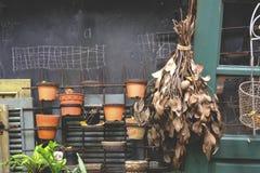Ξεράνετε τα φύλλα που κρεμούν στην πόρτα Στοκ Φωτογραφία