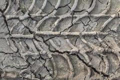 Ξεράνετε τη ραγισμένη λάσπη με τις διαδρομές ροδών Στοκ Εικόνα