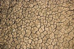Ξεράνετε το ραγισμένο χώμα κατά τη διάρκεια της ξηρασίας Στοκ εικόνα με δικαίωμα ελεύθερης χρήσης