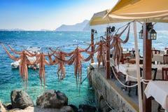 Ξεραίνοντας όπλα χταποδιών στην ελληνική ταβέρνα στο νησί Santorini, παραδοσιακά ελληνικά θαλασσινά που προετοιμάζονται σε μια σχ Στοκ εικόνα με δικαίωμα ελεύθερης χρήσης