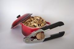 Ξεφλουδισμένα ξύλα καρυδιάς σε μια μικρή κόκκινη κατσαρόλλα με έναν καρυοθραύστης Στοκ Φωτογραφία