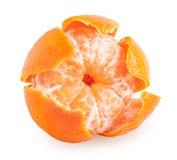 Ξεφλουδισμένα tangerine ή μανταρινιών φρούτα που απομονώνονται Στοκ Εικόνες