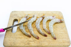 Ξεφλουδισμένες γαρίδες σε ένα splat, λευκό υποβάθρου Στοκ εικόνα με δικαίωμα ελεύθερης χρήσης