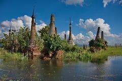 Ξεχασμένες χρονικές αρχαίες καταστροφές των βουδιστικών ναών Στοκ Φωτογραφίες