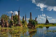 Ξεχασμένες χρονικές αρχαίες καταστροφές των βουδιστικών ναών Στοκ φωτογραφία με δικαίωμα ελεύθερης χρήσης