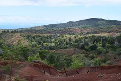 Ξεχασμένος φράκτης στο κρατικό πάρκο φαραγγιών Waimea Kauai Χαβάη στοκ εικόνα με δικαίωμα ελεύθερης χρήσης