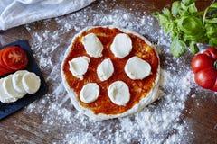Ξεδιπλωμένες ντομάτες και μοτσαρέλα σάλτσας ζύμης ψησίματος πίτσα φρέσκες στοκ εικόνες