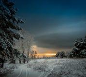 Ξημερώματα με το πρώτο χιόνι Στοκ Εικόνα
