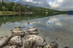 Ξημερώματα στη λίμνη Bohinj Στοκ Εικόνες