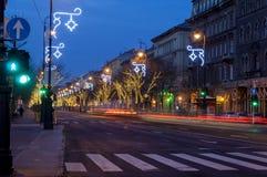 Ξημερώματα στη Βουδαπέστη, δρόμος Andrassy Στοκ εικόνες με δικαίωμα ελεύθερης χρήσης