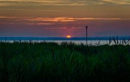 Ξημερώματα το καλοκαίρι σε έναν μικρό λιμένα στη λίμνη Constance στοκ εικόνες