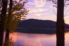 Ξημερώματα Whitefish στη λίμνη, Μοντάνα Στοκ φωτογραφίες με δικαίωμα ελεύθερης χρήσης