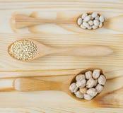 Ξηρά άσπρα φασόλια μπιζελιών, quinoa σπόροι και chickpeas στο ξύλινο κουτάλι Στοκ φωτογραφία με δικαίωμα ελεύθερης χρήσης