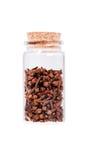 Ξηρά γαρίφαλα σε ένα μπουκάλι γυαλιού με το πώμα φελλού, που απομονώνεται στο wh Στοκ Φωτογραφίες