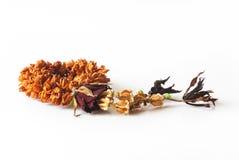 Ξηρά γιρλάντα λουλουδιών, ταϊλανδικό ύφος που απομονώνεται στο άσπρο υπόβαθρο Στοκ Φωτογραφίες