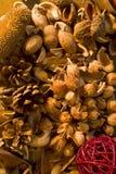 Ξηρά εγκαταστάσεις ποτ πουρί Aromatherapy και καρύδια λουλουδιών Στοκ φωτογραφίες με δικαίωμα ελεύθερης χρήσης