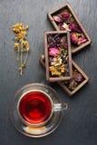 Ξηρά ιατρικά χορτάρια στα ξύλινα κιβώτια και το βοτανικό τσάι θεραπείας, τοπ άποψη Στοκ εικόνες με δικαίωμα ελεύθερης χρήσης