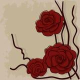 Ξηρά κόκκινα τριαντάφυλλα στην πέτρα διανυσματική απεικόνιση