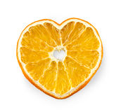 Ξηρά πορτοκαλιά φέτα υπό μορφή καρδιάς Στοκ Φωτογραφία