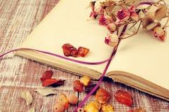 Ξηρά τριαντάφυλλα, ηλέκτρινα και το κενό ανοικτό βιβλίο Στοκ Φωτογραφίες