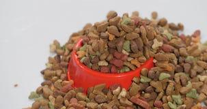 Ξηρά τρόφιμα για τις γάτες και άλλα κατοικίδια ζώα Περιστρέφεται, πυροβολισμός στούντιο φιλμ μικρού μήκους