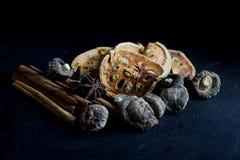 Ξηρά τσάι φρούτων bael και μανιτάρι, κανέλα, γλυκάνισο αστεριών Στοκ εικόνα με δικαίωμα ελεύθερης χρήσης
