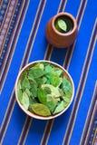 Ξηρά φύλλα κοκών και τσάι κοκών Στοκ Εικόνες