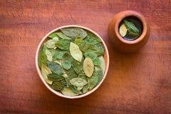 Ξηρά φύλλα κοκών και τσάι κοκών Στοκ φωτογραφίες με δικαίωμα ελεύθερης χρήσης