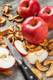 Ξηρές φέτες μήλων και κόκκινα φρέσκα φρούτα μήλων στον πίνακα Στοκ Εικόνα