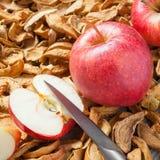 Ξηρές φέτες μήλων, μαχαίρι και κόκκινα φρέσκα κόκκινα φρούτα μήλων Στοκ Εικόνες