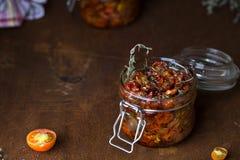 Ξηραμένες από τον ήλιο ντομάτες με τα χορτάρια Στοκ εικόνες με δικαίωμα ελεύθερης χρήσης