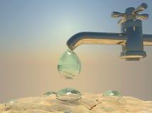 Ξηρασία, θερμότητα Πτώση νερού που στάζει από water-supply τη στρόφιγγα, δ Στοκ Φωτογραφίες