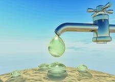 Ξηρασία, θερμότητα Πτώση νερού που στάζει από water-supply τη στρόφιγγα, δ Στοκ φωτογραφία με δικαίωμα ελεύθερης χρήσης