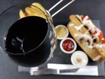 Ξηρός semidry redwine γυαλιού κρασιού πίνει τα τρόφιμα ποτών Στοκ Εικόνες