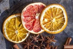 Ξηρό γκρέιπφρουτ και πορτοκαλιές φέτες Στοκ Φωτογραφίες