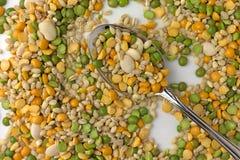 Ξηρό μίγμα φυτικής σούπας σε ένα πιάτο με ένα κουτάλι Στοκ Εικόνες
