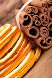 ξηρό πορτοκάλι κανέλας Στοκ εικόνα με δικαίωμα ελεύθερης χρήσης