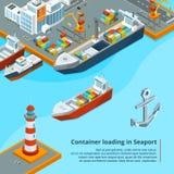 Ξηρό φορτηγό πλοίο με τα εμπορευματοκιβώτια Θαλάσσια βιομηχανική εργασία Isometric απεικονίσεις διανυσματική απεικόνιση