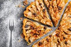 Ξινή πίτα της Apple με τα καρύδια και τις σταφίδες Στοκ φωτογραφίες με δικαίωμα ελεύθερης χρήσης