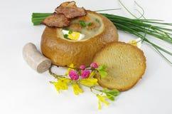 Ξινή σούπα στο ψωμί Στοκ φωτογραφία με δικαίωμα ελεύθερης χρήσης
