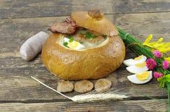 Ξινή σούπα στο ψωμί Στοκ φωτογραφίες με δικαίωμα ελεύθερης χρήσης