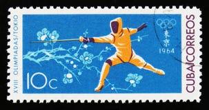Ξιφομάχος, 18οι Ολυμπιακοί Αγώνες στο Τόκιο, circa 1964 Στοκ Εικόνα