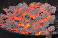 ξυλάνθρακας ανθρακόπλινθων καυτός στοκ εικόνες