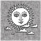 ξυλογραφία ήλιων σύννεφω&nu Στοκ εικόνες με δικαίωμα ελεύθερης χρήσης